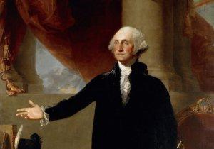 Gilbert Stuart's 1796 oil on canvas portrait of George Washington on display at Washington's National Portrait Gallery.  (AP Photo)